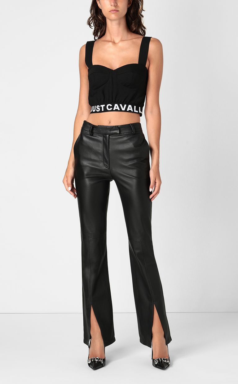 JUST CAVALLI Crop top with logo tape Top Woman d
