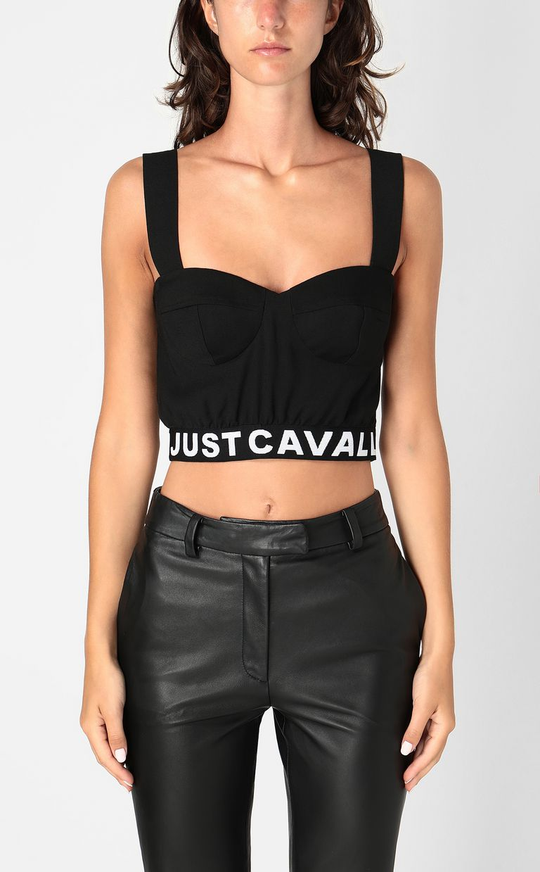 JUST CAVALLI Crop top with logo tape Top Woman r