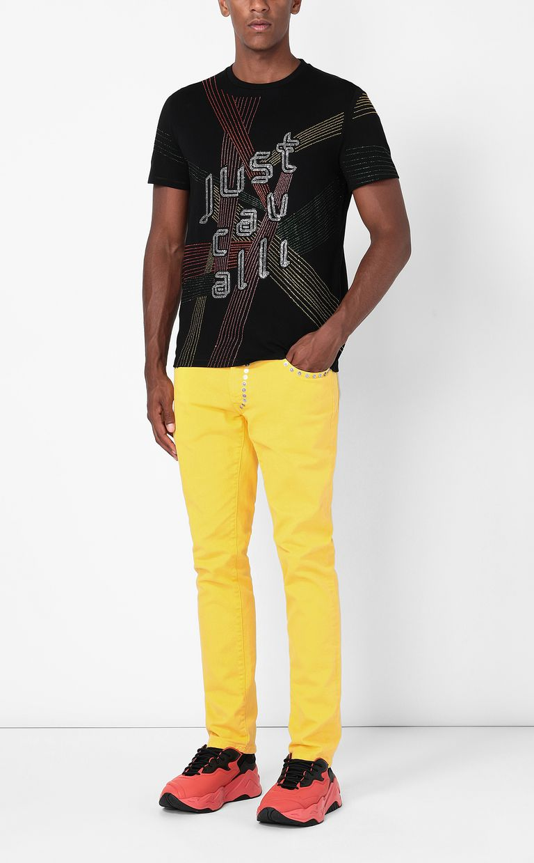 JUST CAVALLI T-shirt with Logo Lights pattern Short sleeve t-shirt Man d