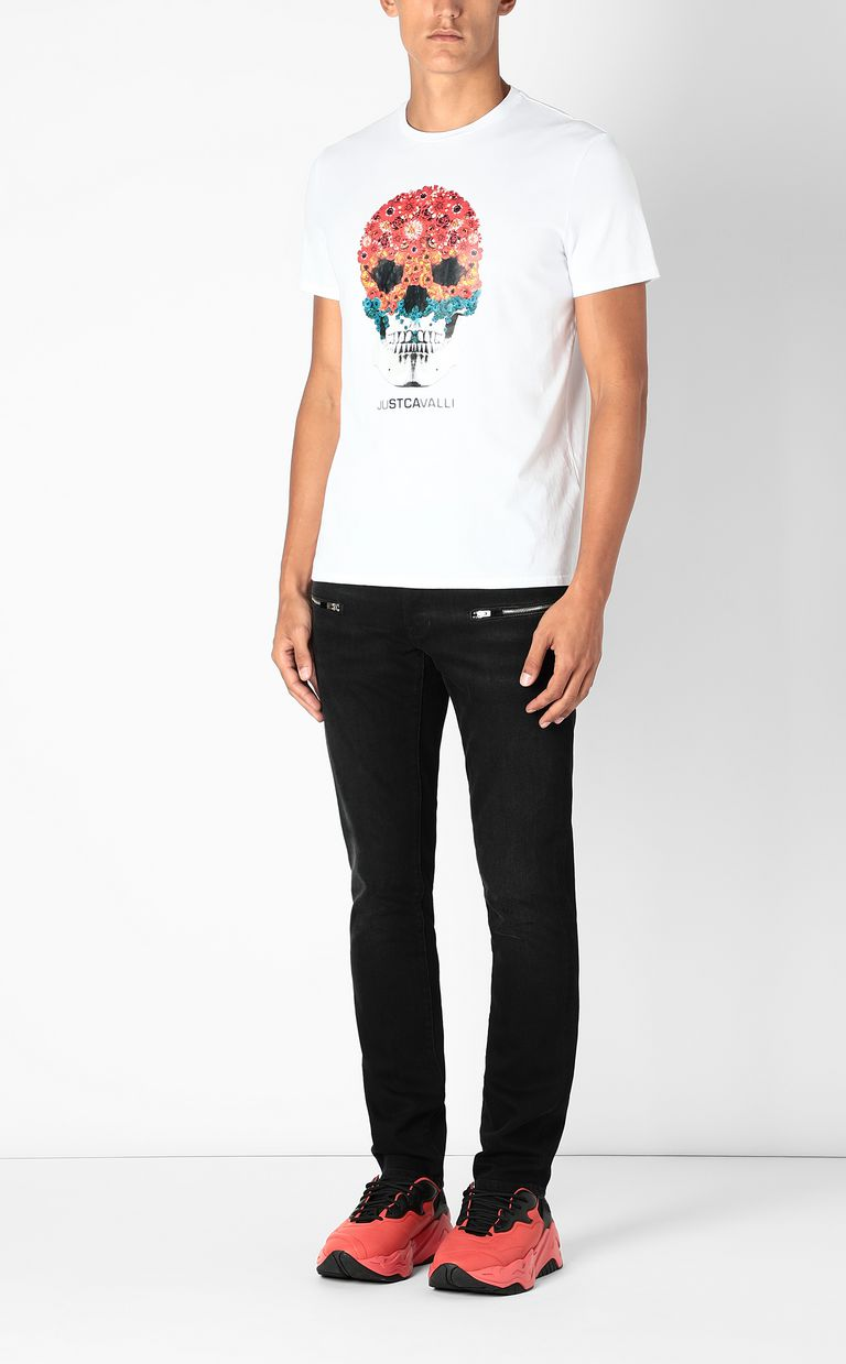 JUST CAVALLI T-shirt with Flower-Skull print Short sleeve t-shirt Man d