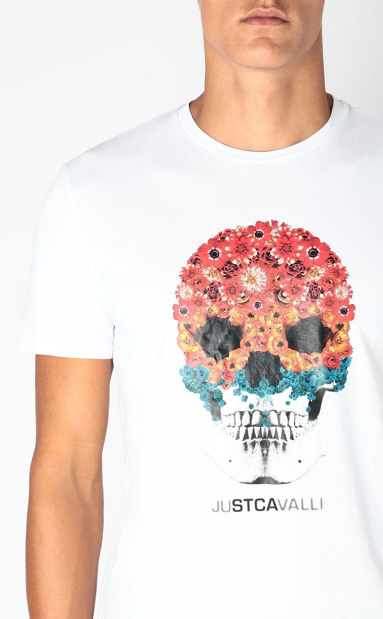 JUST CAVALLI T-shirt with Flower-Skull print Short sleeve t-shirt Man e