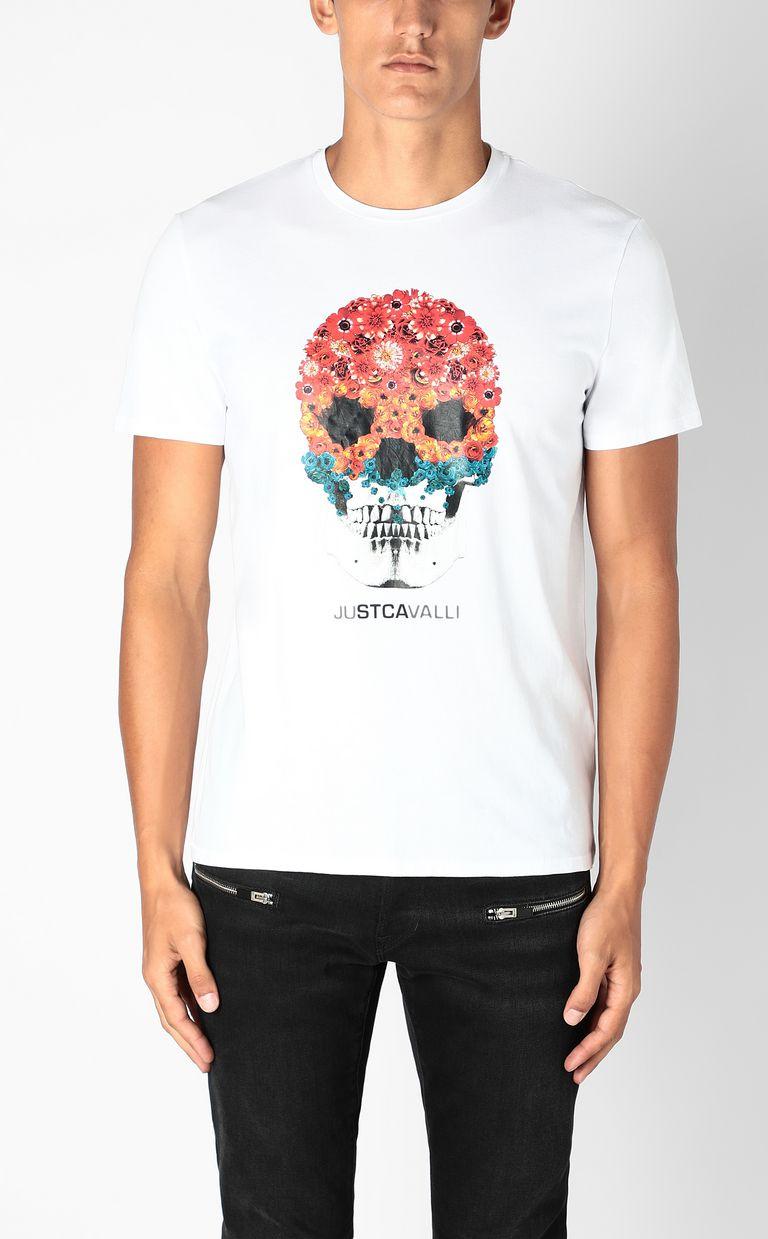 JUST CAVALLI T-shirt with Flower-Skull print Short sleeve t-shirt Man r