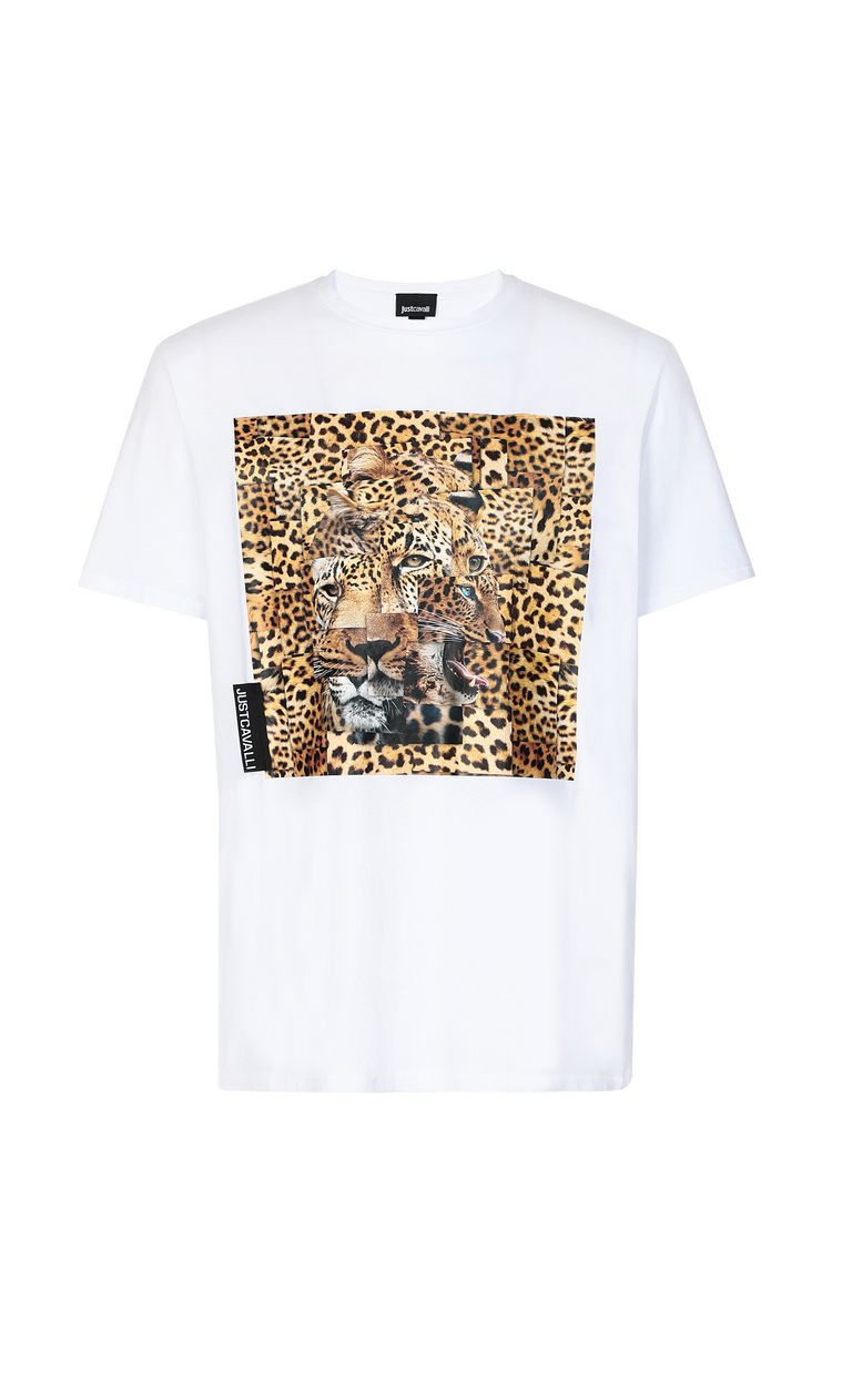 JUST CAVALLI T-shirt with Leo-Patchwork print Short sleeve t-shirt Man f