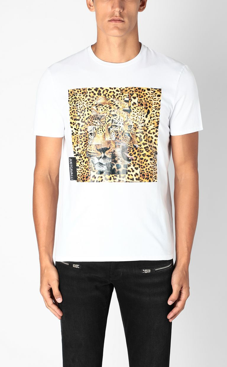 JUST CAVALLI T-shirt with Leo-Patchwork print Short sleeve t-shirt Man r