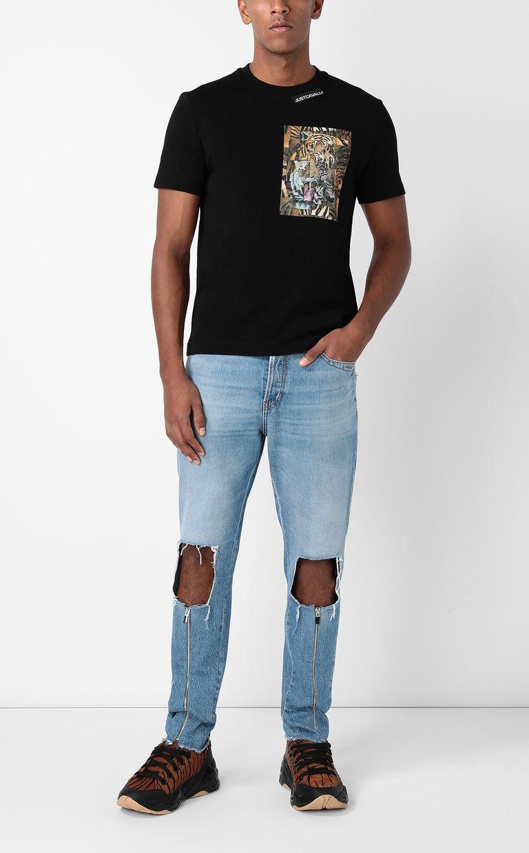 JUST CAVALLI T-shirt with Tiger-Patchwork print Short sleeve t-shirt Man d