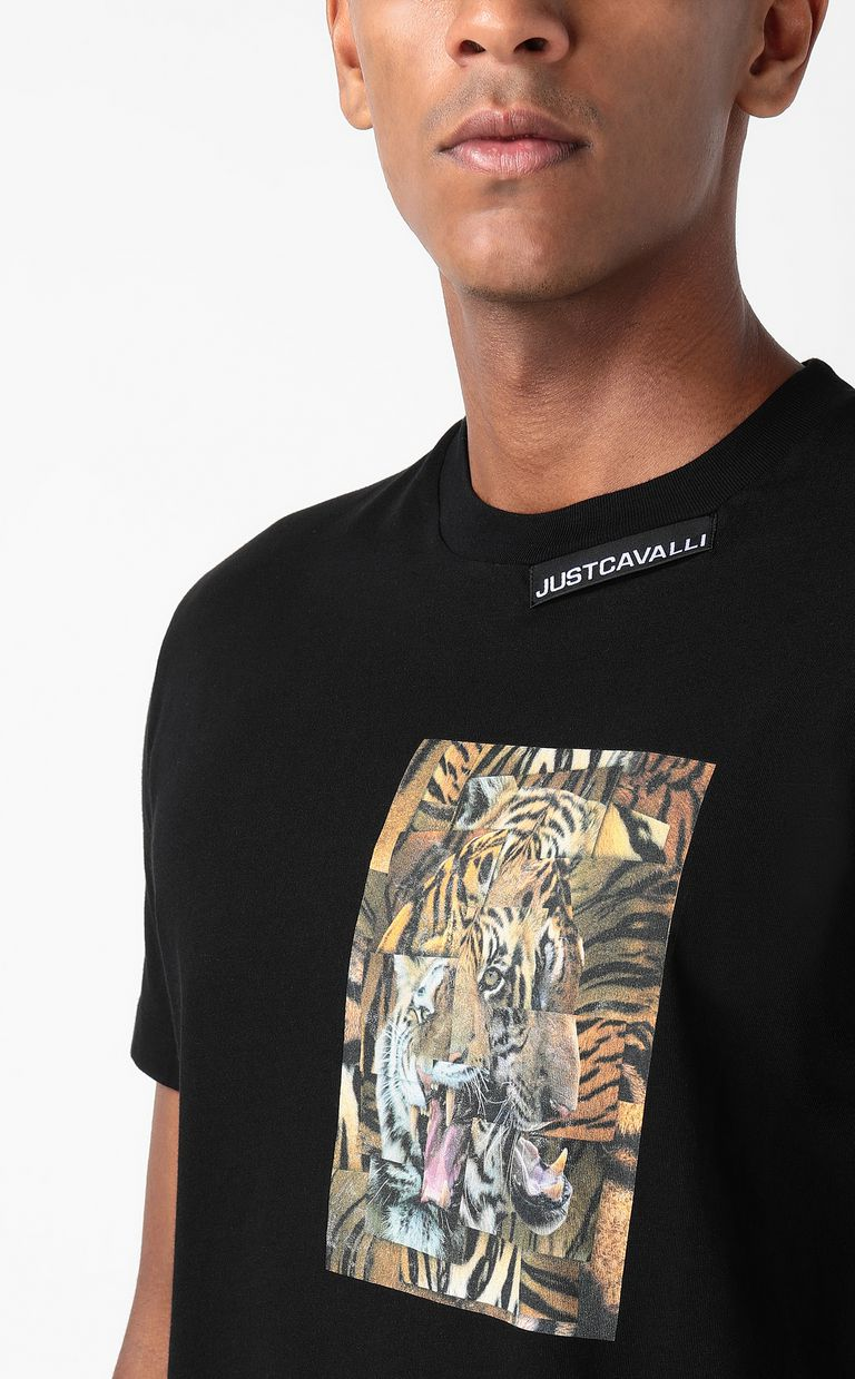 JUST CAVALLI T-shirt with Tiger-Patchwork print Short sleeve t-shirt Man e