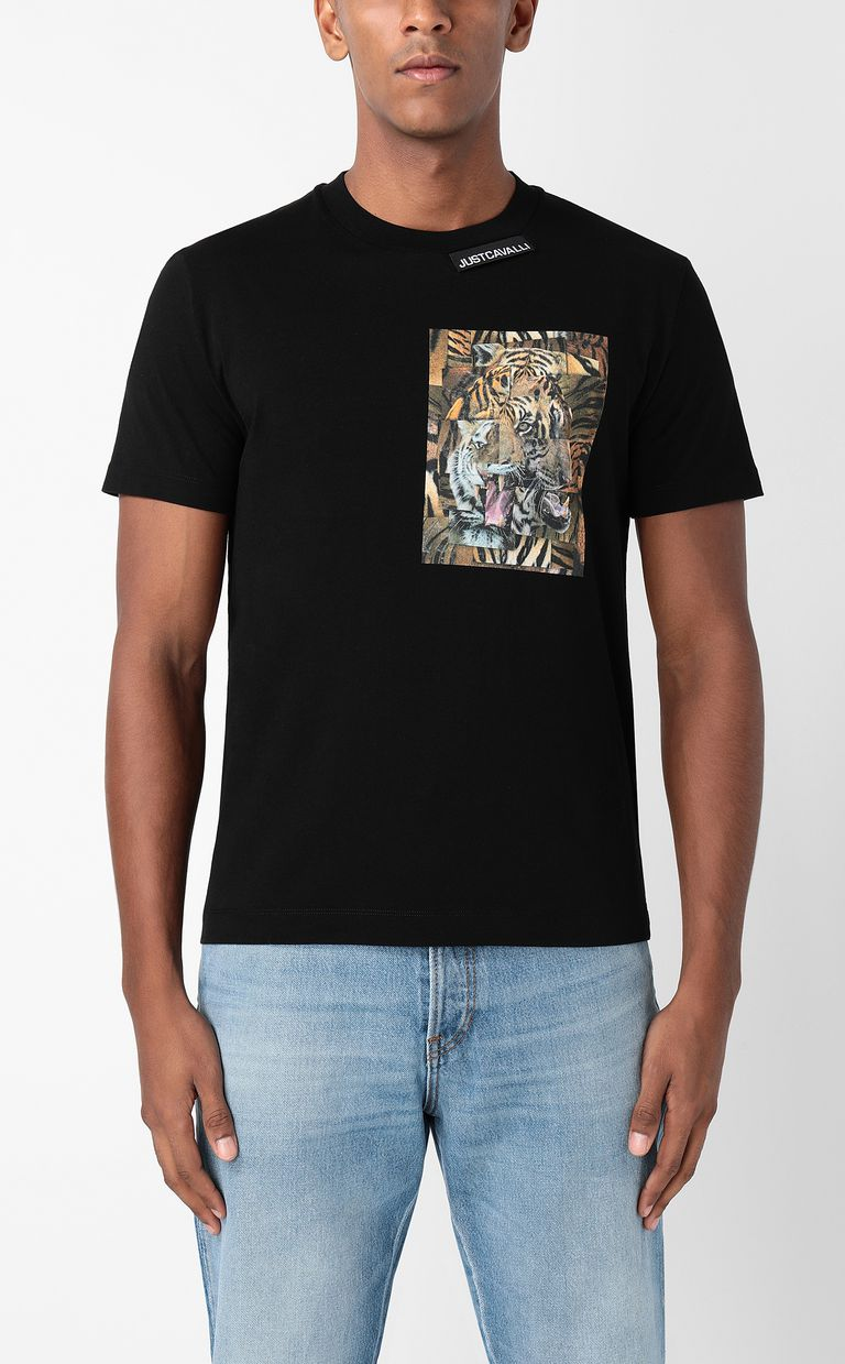 JUST CAVALLI T-shirt with Tiger-Patchwork print Short sleeve t-shirt Man r