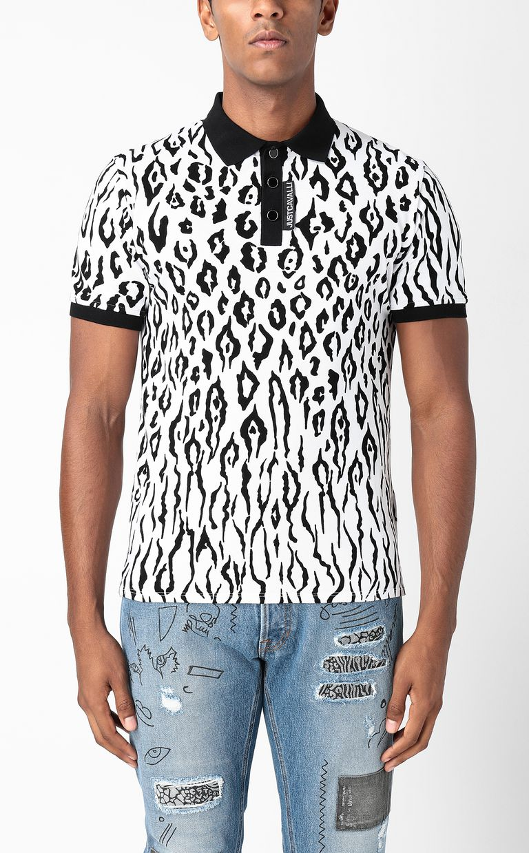 JUST CAVALLI Polo shirt with Tigon print Polo shirt Man r