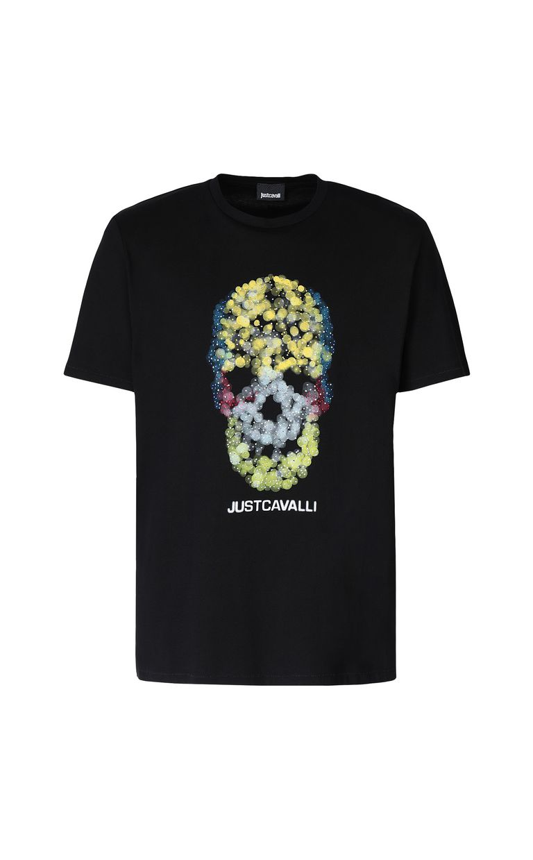 JUST CAVALLI T-shirt with Sequin-Skull print Short sleeve t-shirt Man f