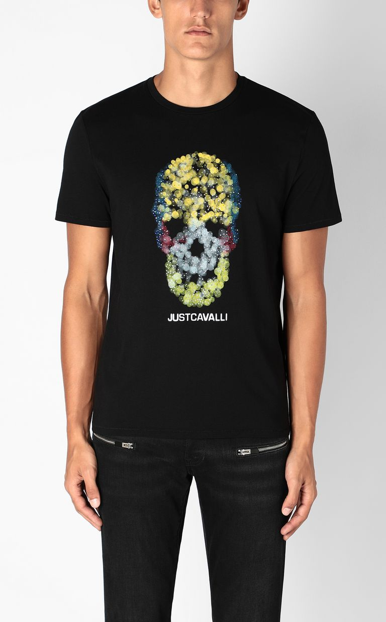 JUST CAVALLI T-shirt with Sequin-Skull print Short sleeve t-shirt Man r
