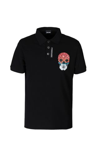 JUST CAVALLI Polo shirt Man Polo shirt with Flower-Skull print f