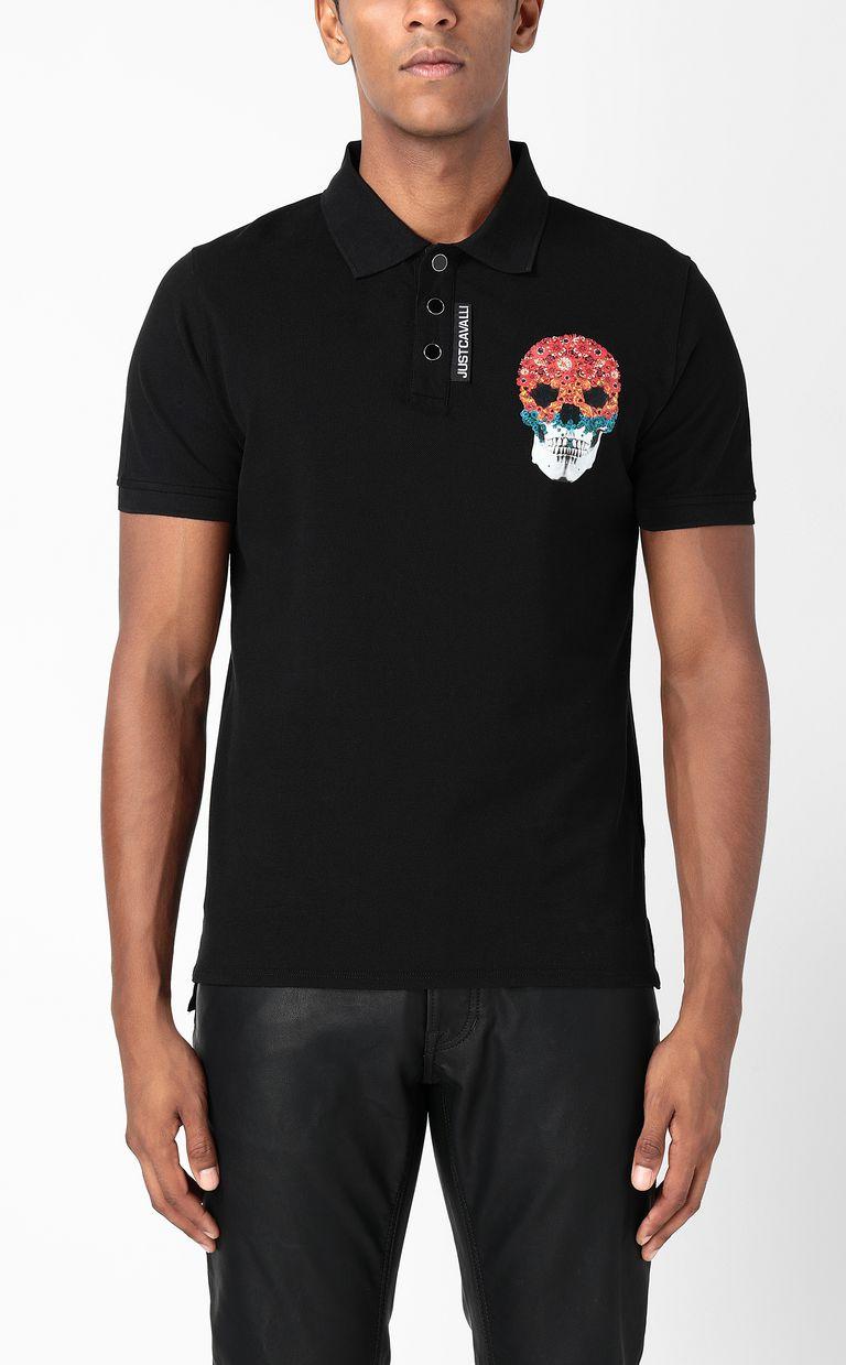 JUST CAVALLI Polo shirt with Flower-Skull print Polo shirt Man r