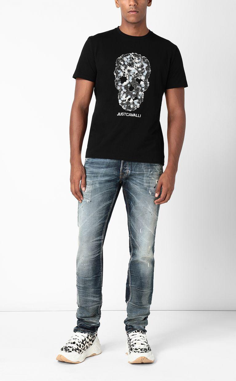 JUST CAVALLI T-shirt with Sequin-Skull print Short sleeve t-shirt Man d
