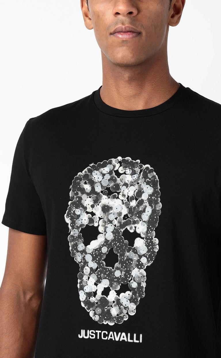 JUST CAVALLI T-shirt with Sequin-Skull print Short sleeve t-shirt Man e