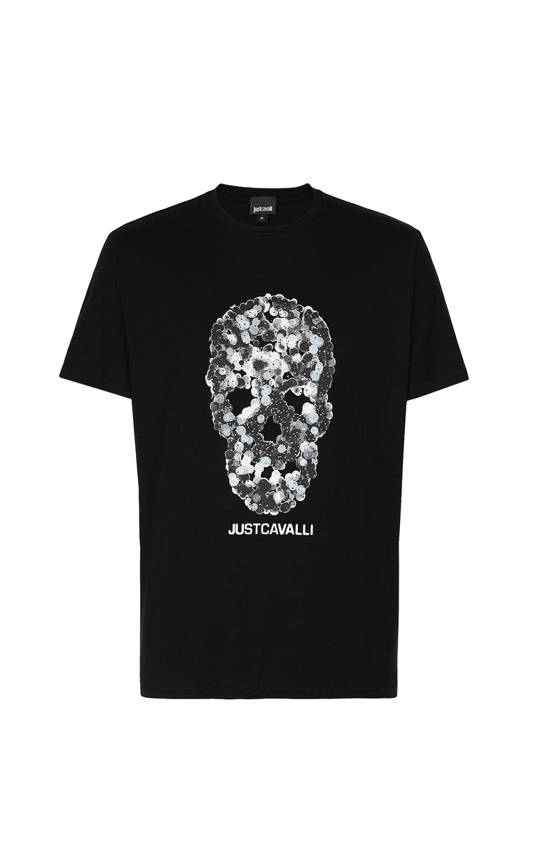 JUST CAVALLI T-shirt with Sequin-Skull print Short sleeve t-shirt Man f