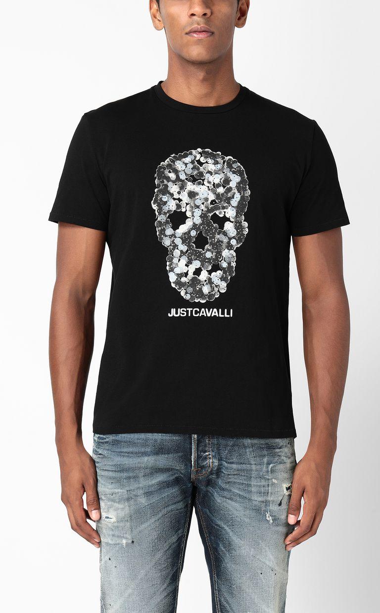 JUST CAVALLI T-shirt with Sequin-Skull print Short sleeve t-shirt Man r