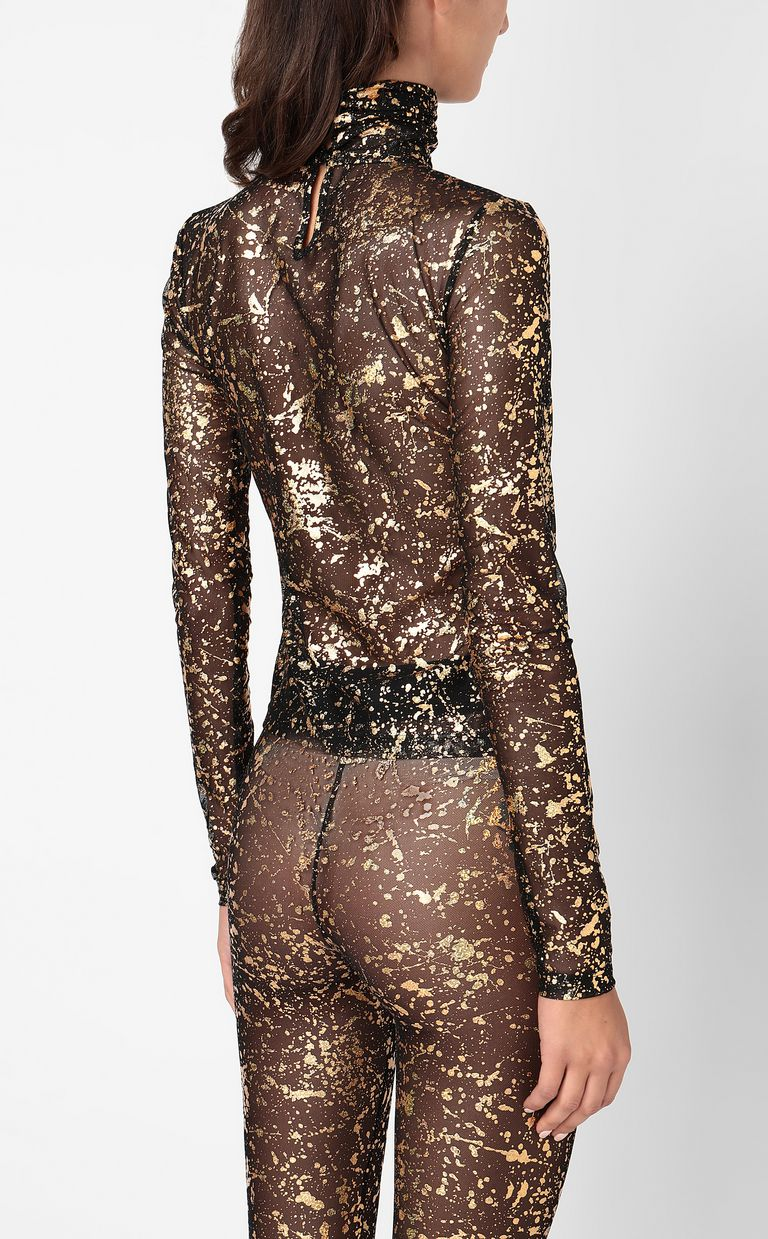 JUST CAVALLI Close-fitting top with gold details Top Woman a
