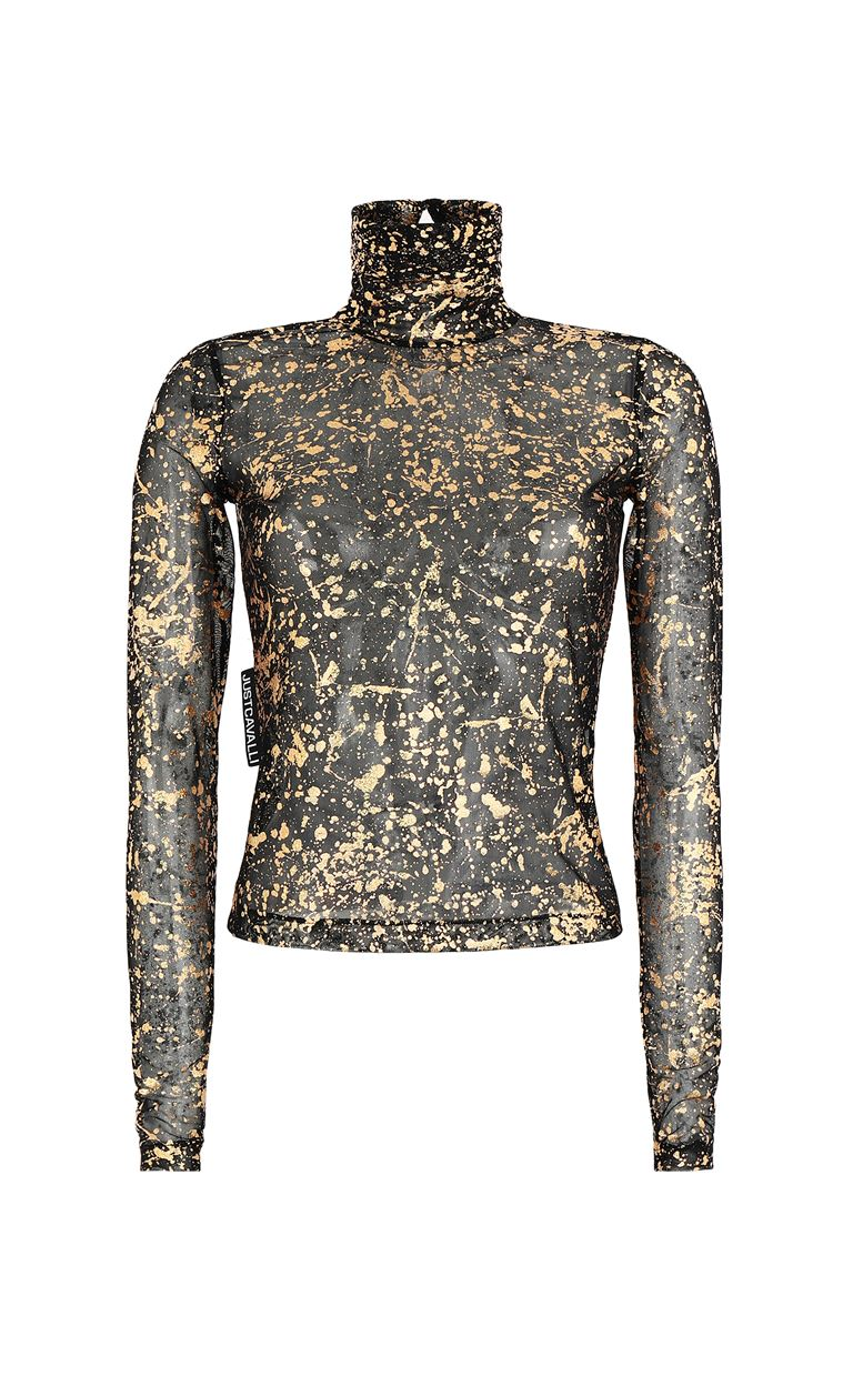 JUST CAVALLI Close-fitting top with gold details Top Woman f