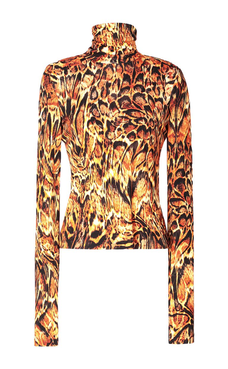 JUST CAVALLI Top with Siberian-Wolf print Top Woman f