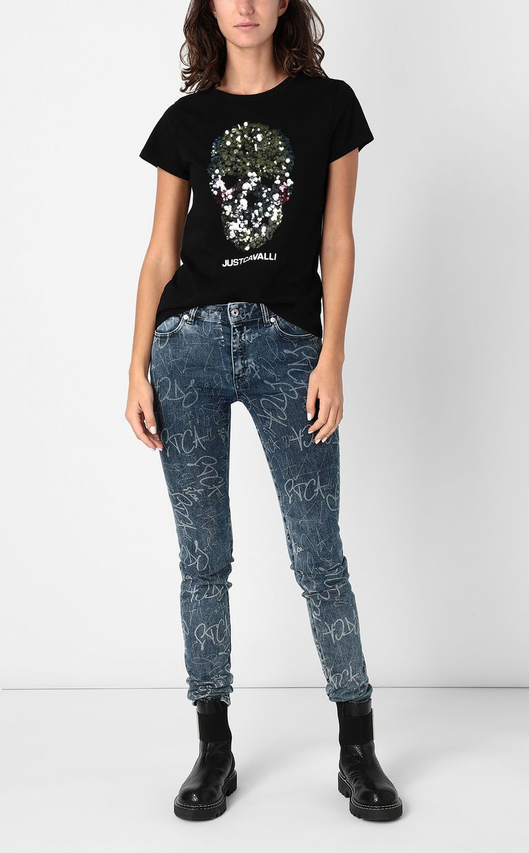 JUST CAVALLI T-shirt with sequinned skull Short sleeve t-shirt Woman d