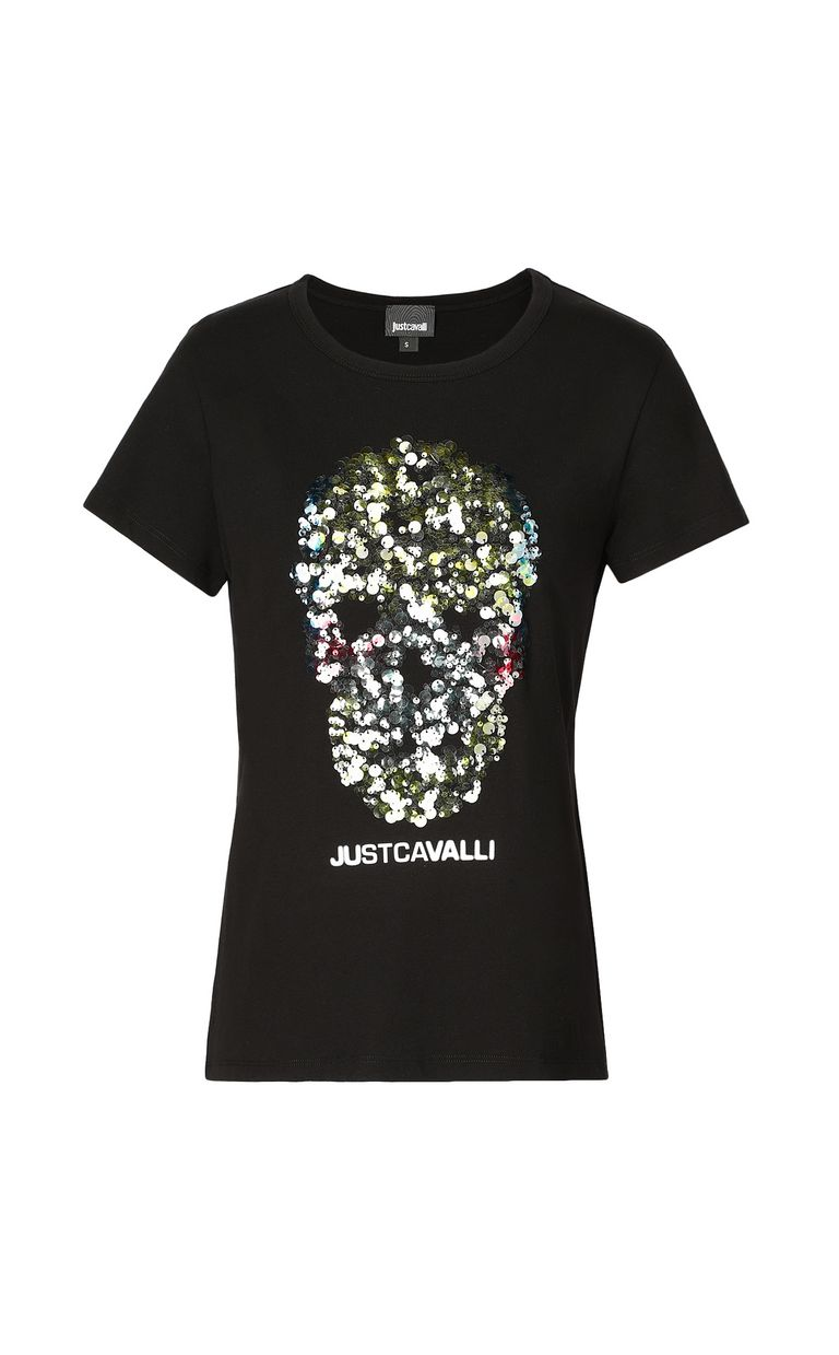 JUST CAVALLI T-shirt with sequinned skull Short sleeve t-shirt Woman f