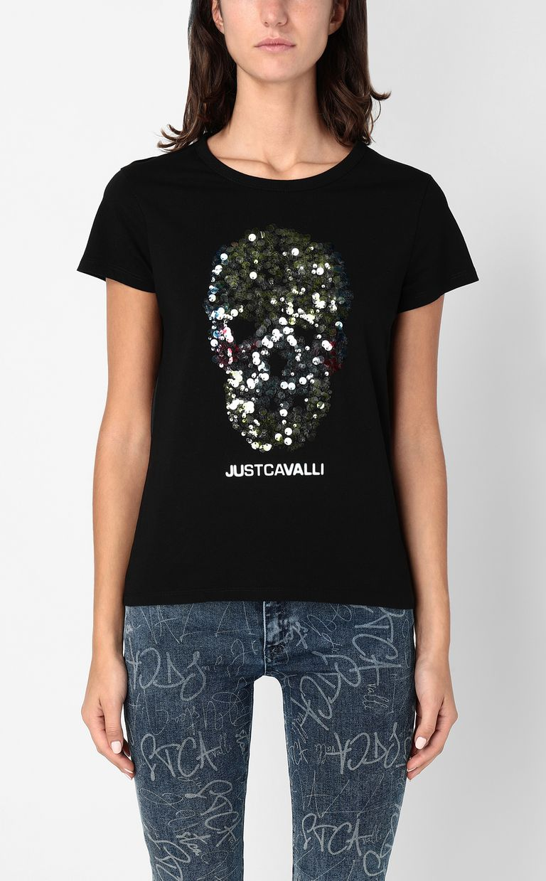 JUST CAVALLI T-shirt with sequinned skull Short sleeve t-shirt Woman r