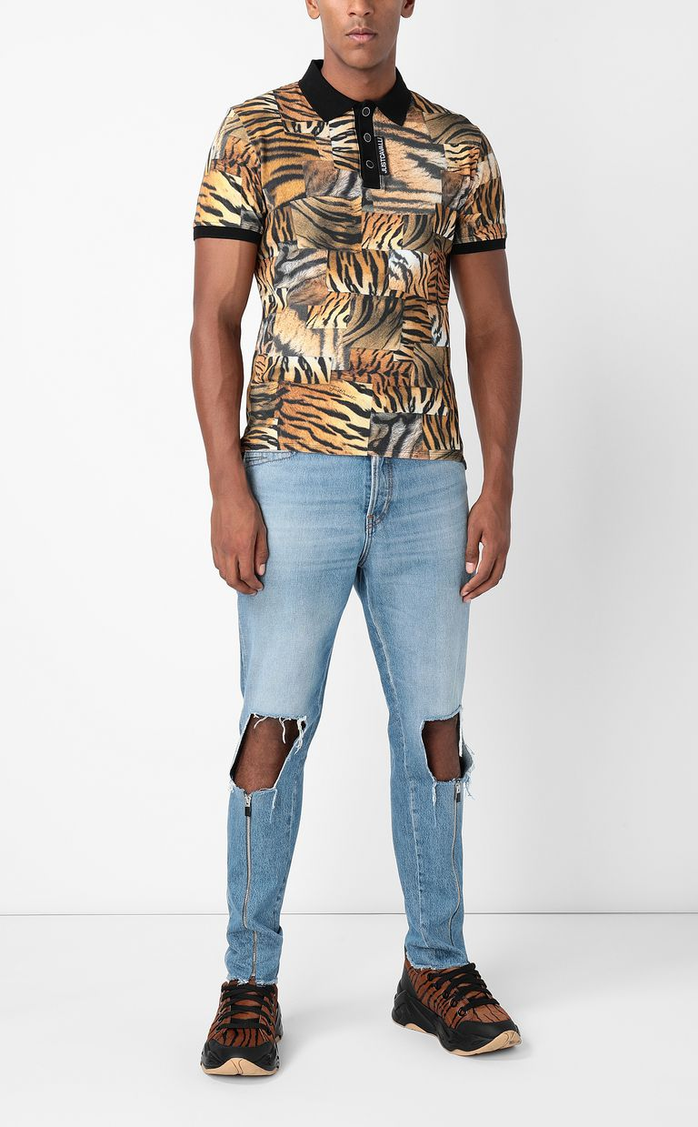 JUST CAVALLI Tiger-Patchwork-print polo shirt Polo shirt Man d