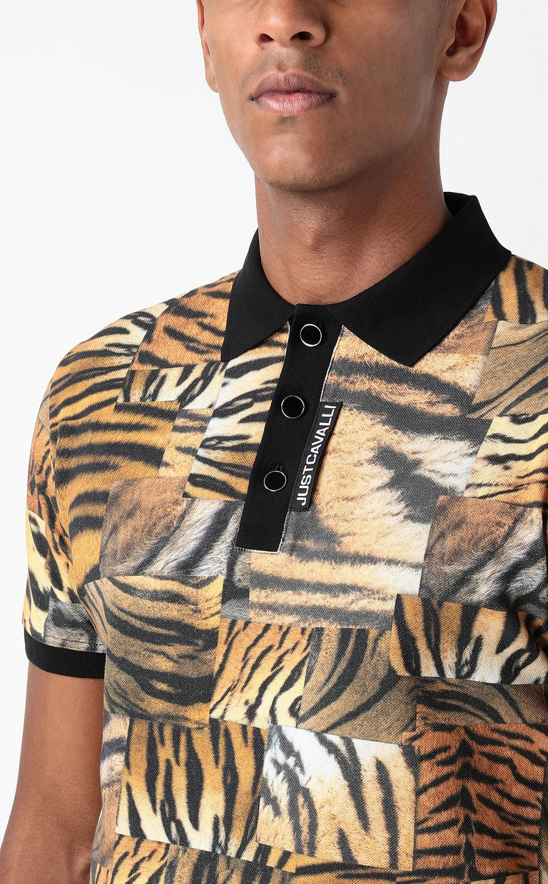 JUST CAVALLI Tiger-Patchwork-print polo shirt Polo shirt Man e
