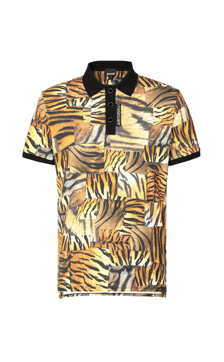 JUST CAVALLI Tiger-Patchwork-print polo shirt Polo shirt Man f