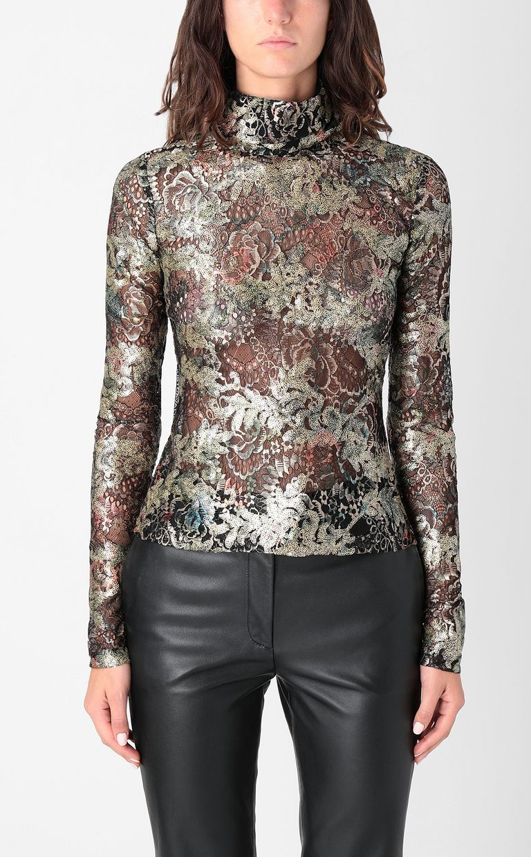 JUST CAVALLI Close-fitting floral top Top Woman r