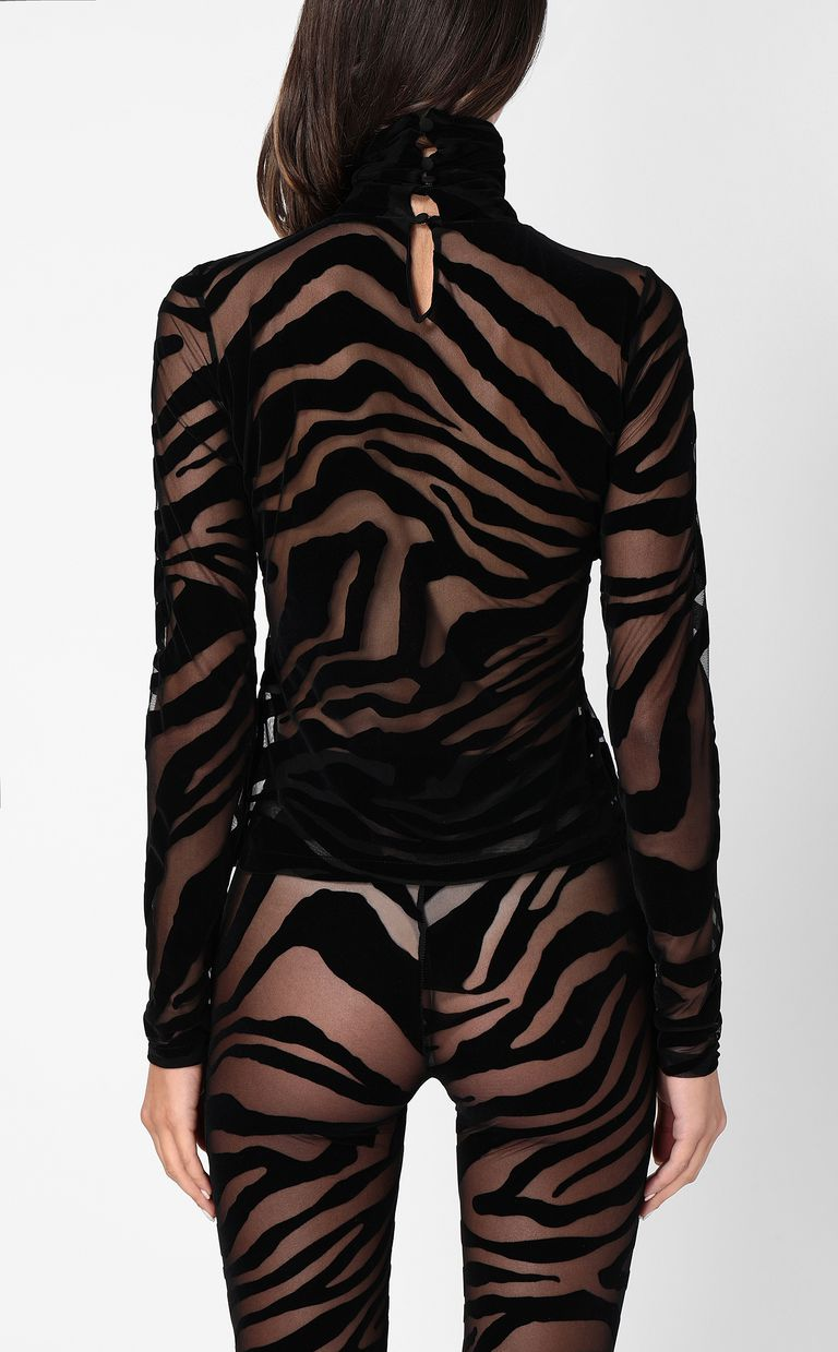 JUST CAVALLI Close-fitting zebra-stripe top Top Woman a