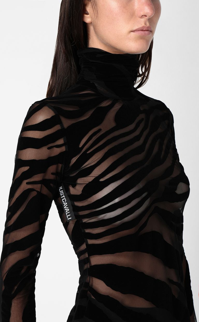 JUST CAVALLI Close-fitting zebra-stripe top Top Woman e