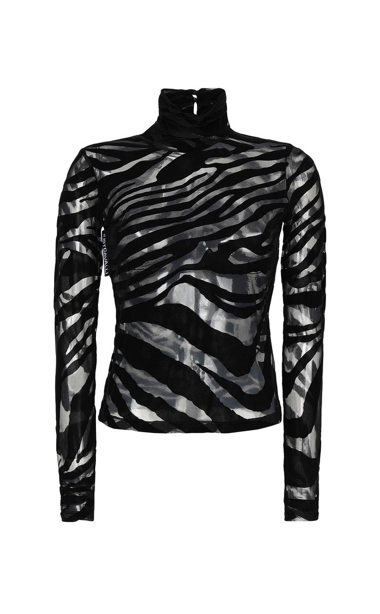 JUST CAVALLI Close-fitting zebra-stripe top Top Woman f