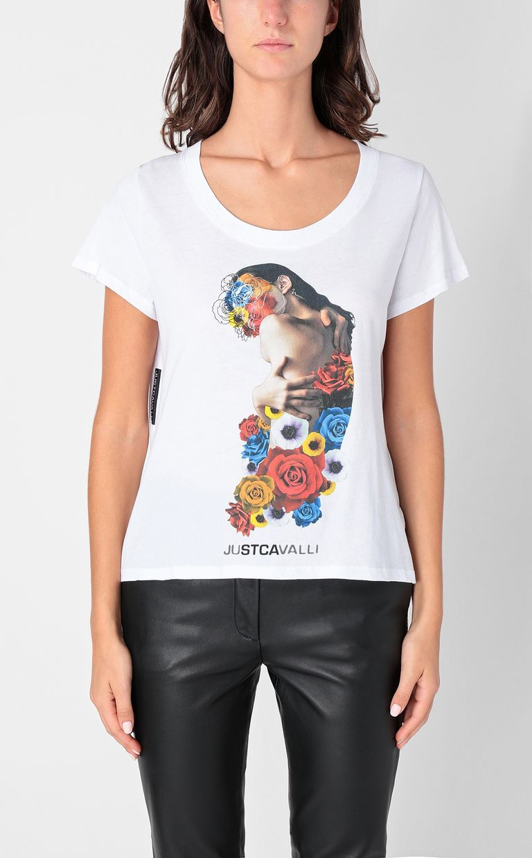 JUST CAVALLI T-shirt with print design Short sleeve t-shirt Woman r