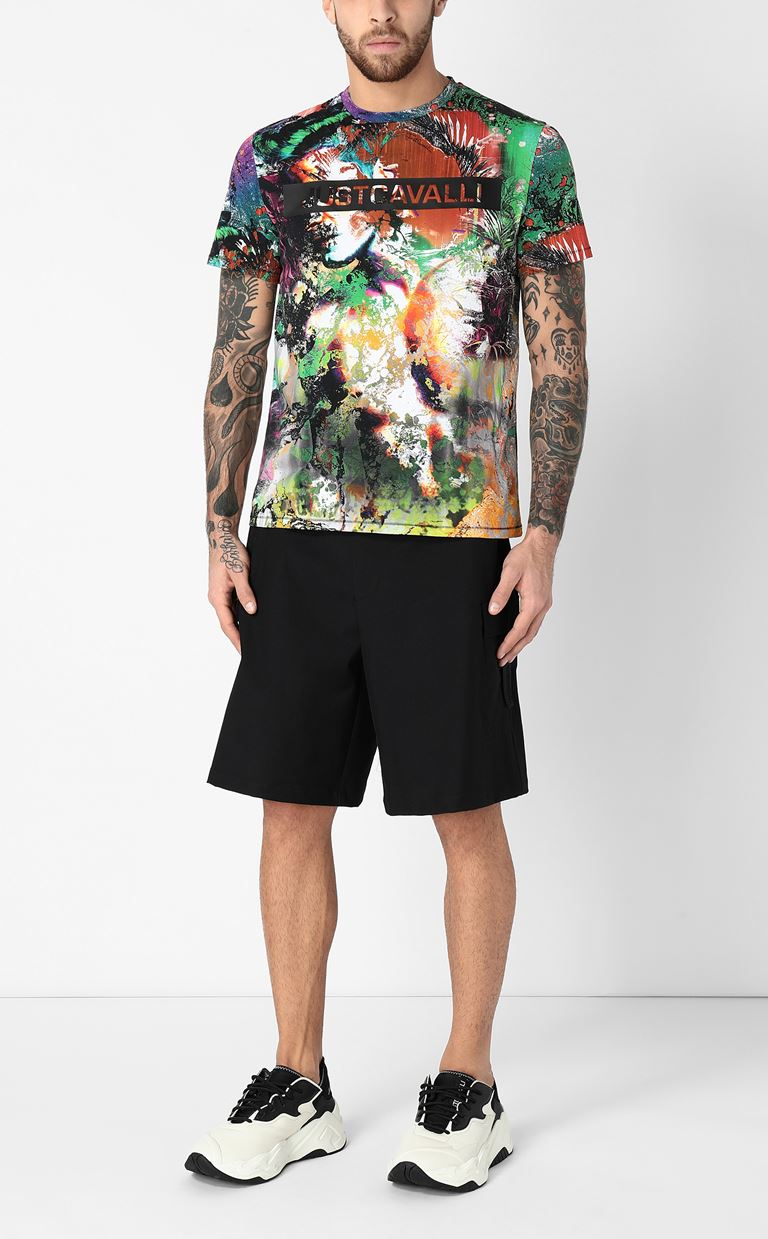 JUST CAVALLI T-shirt with print design Short sleeve t-shirt Man d