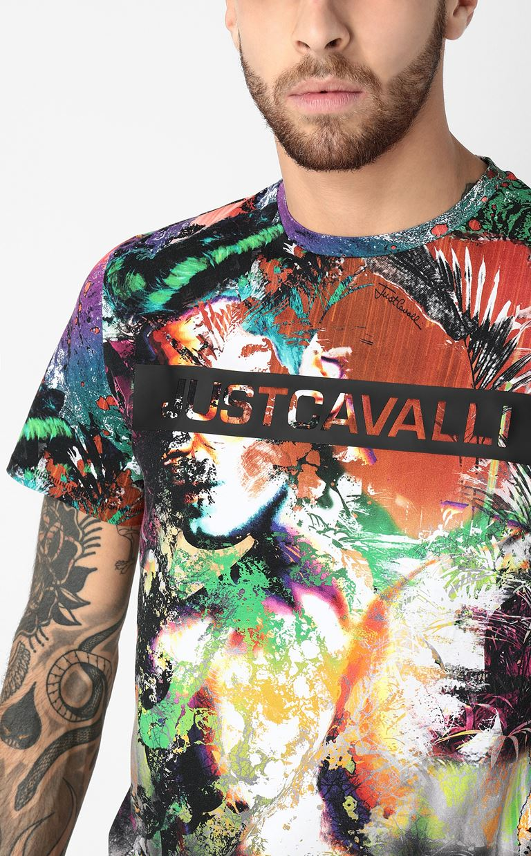 JUST CAVALLI T-shirt with print design Short sleeve t-shirt Man e