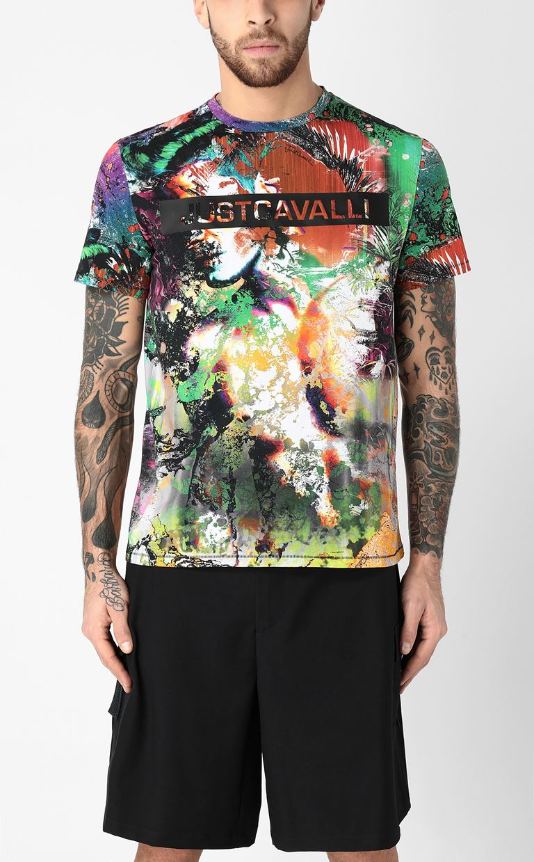 JUST CAVALLI T-shirt with print design Short sleeve t-shirt Man r