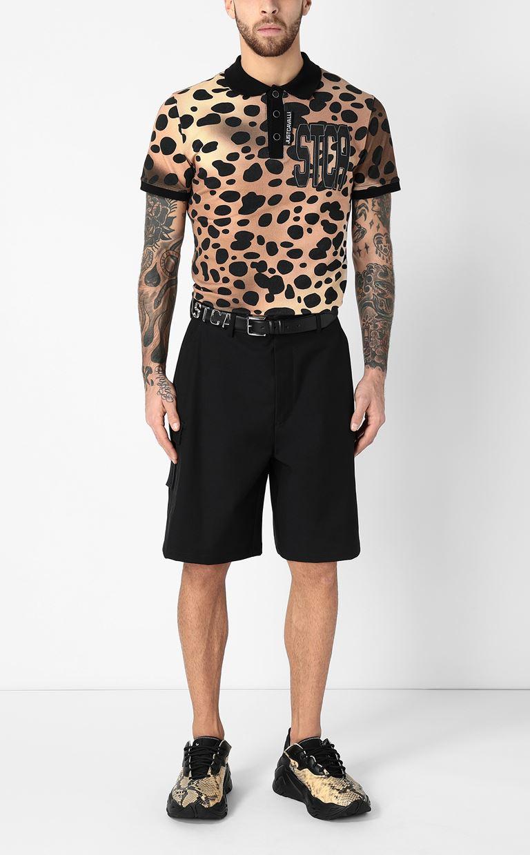 JUST CAVALLI Polo shirt with leopard-spot print Polo shirt Man d