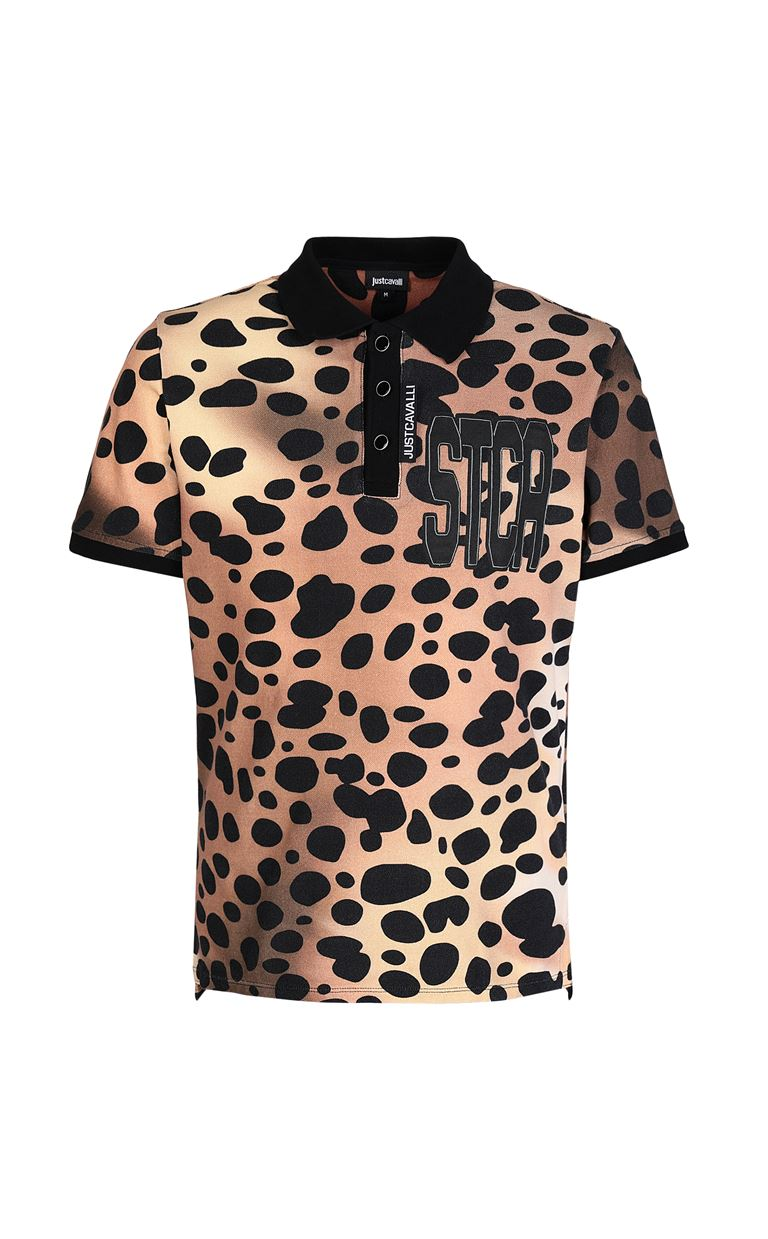 JUST CAVALLI Polo shirt with leopard-spot print Polo shirt Man f