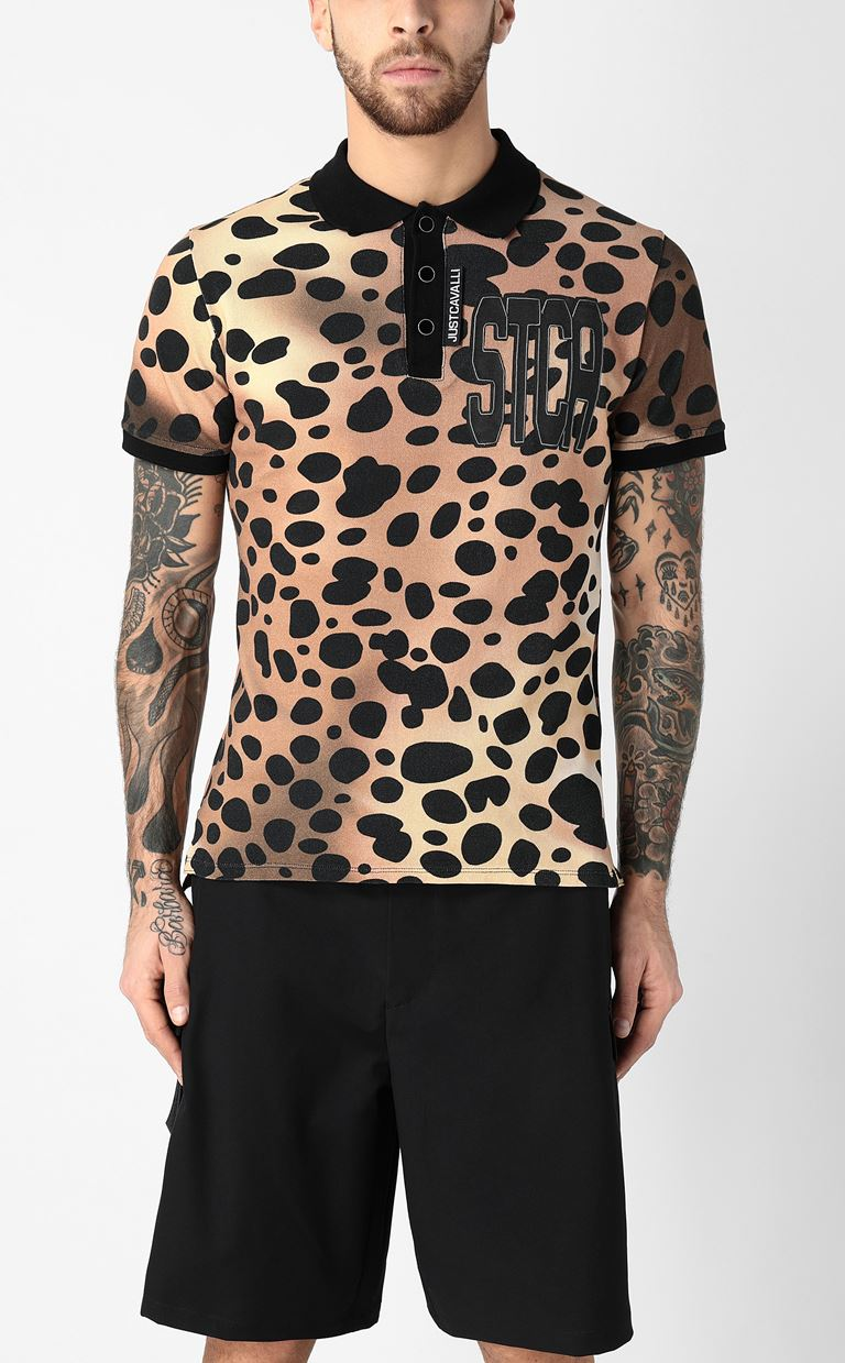 JUST CAVALLI Polo shirt with leopard-spot print Polo shirt Man r