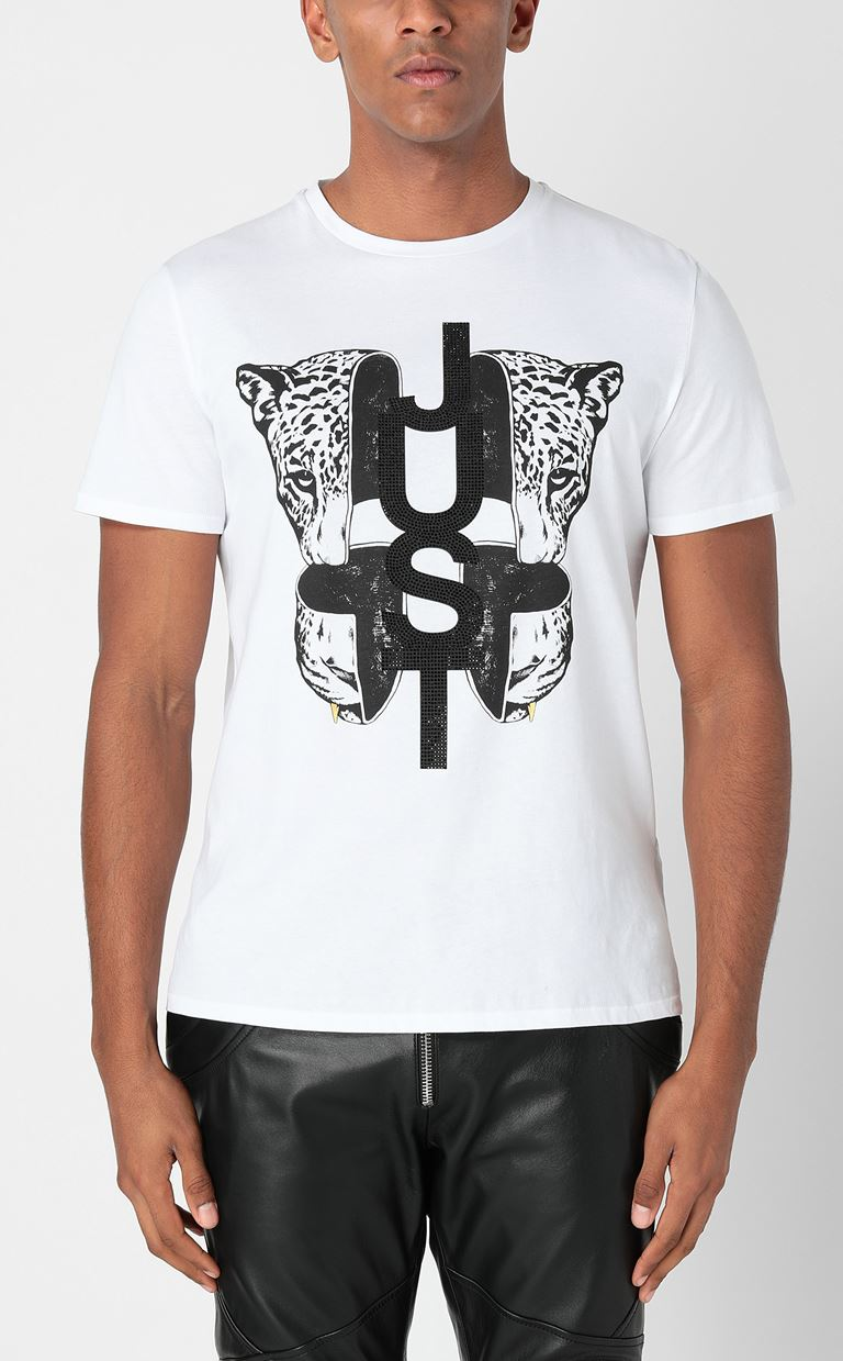 JUST CAVALLI T-shirt with print design Short sleeve t-shirt Man r