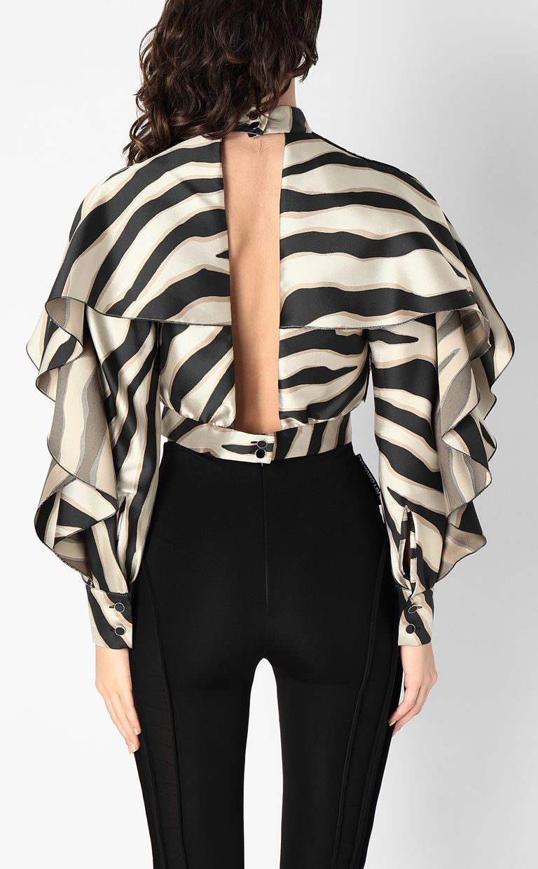 JUST CAVALLI Top with zebra-stripe print Top Woman a