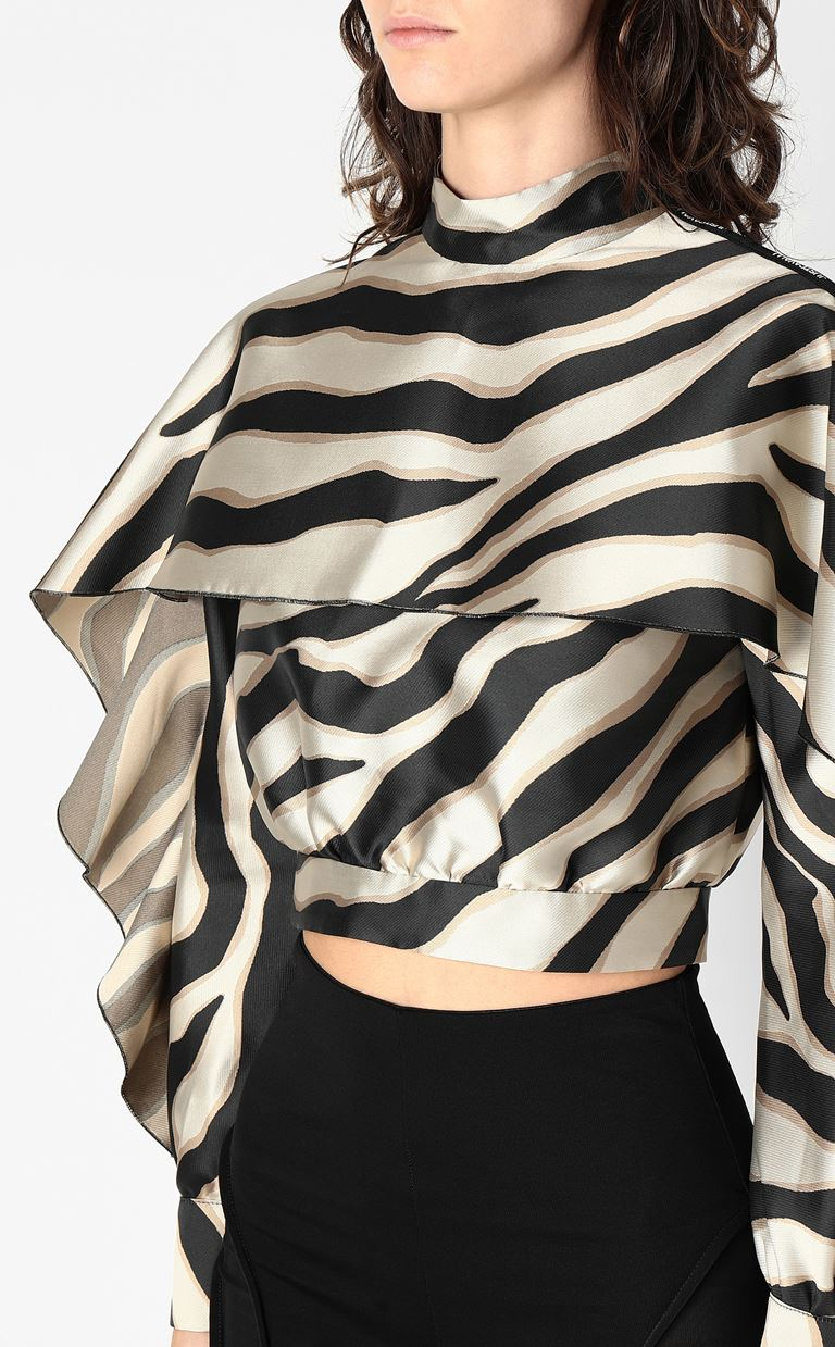 JUST CAVALLI Top with zebra-stripe print Top Woman e