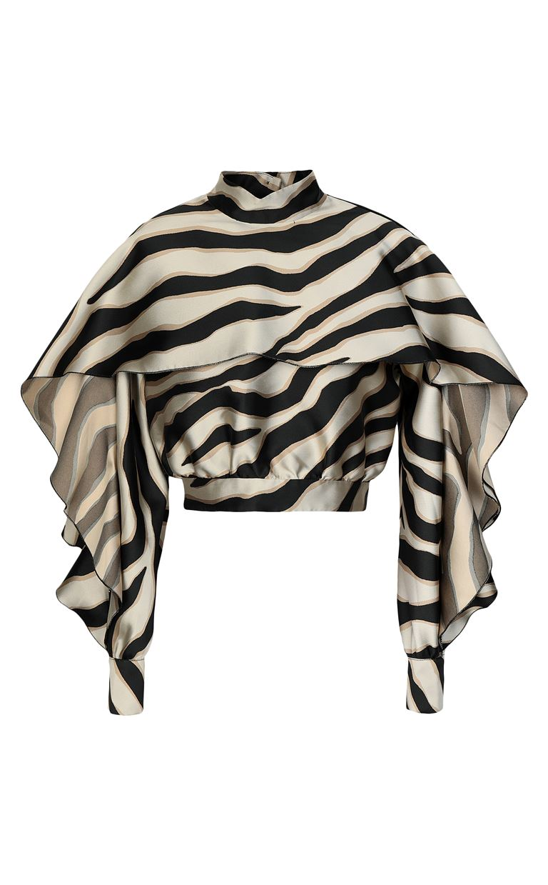 JUST CAVALLI Top with zebra-stripe print Top Woman f