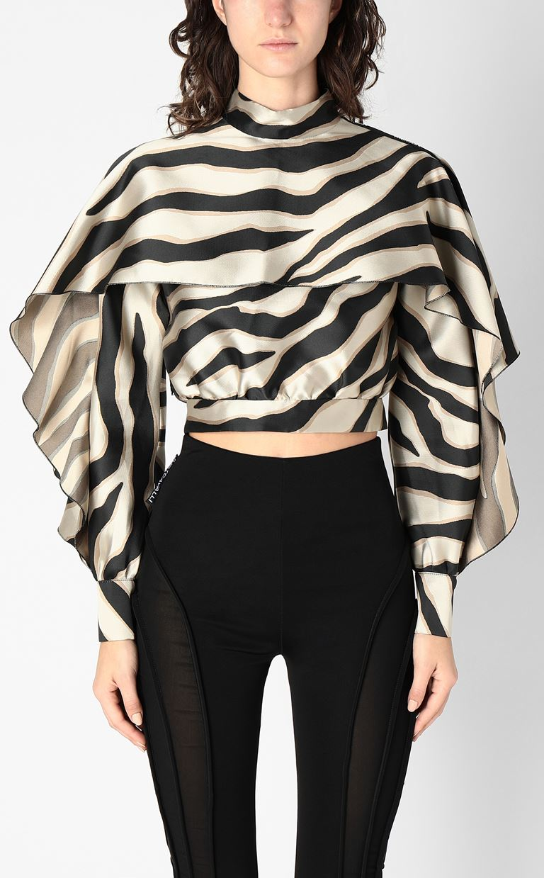 JUST CAVALLI Top with zebra-stripe print Top Woman r