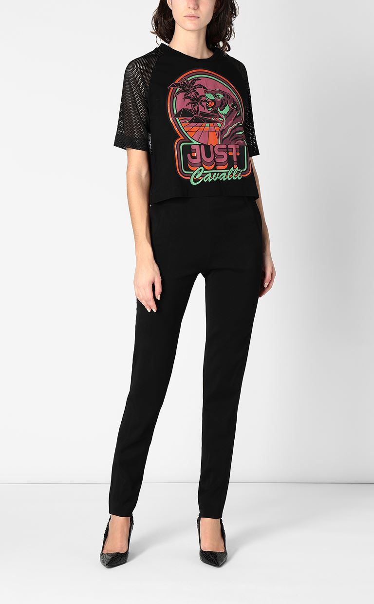 JUST CAVALLI Cropped t-shirt with print design Short sleeve t-shirt Woman d
