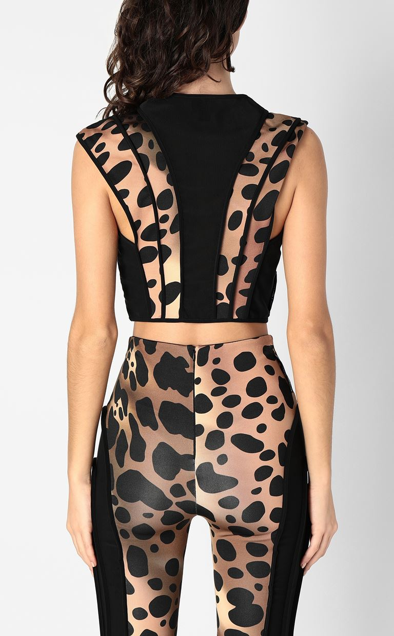 JUST CAVALLI Top with leopard-spot details Top Woman a