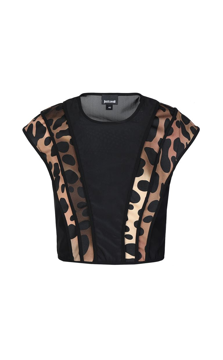 JUST CAVALLI Top with leopard-spot details Top Woman f