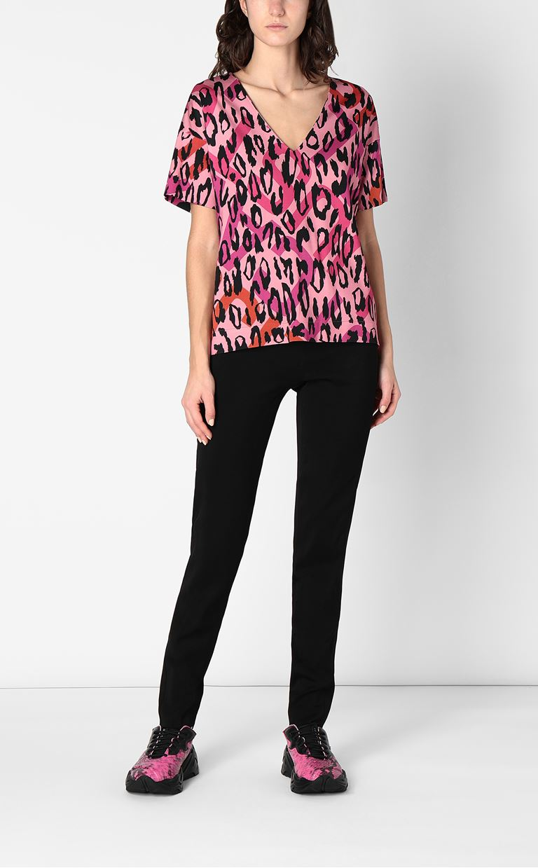 JUST CAVALLI Top with leopard-spot print Top Woman d