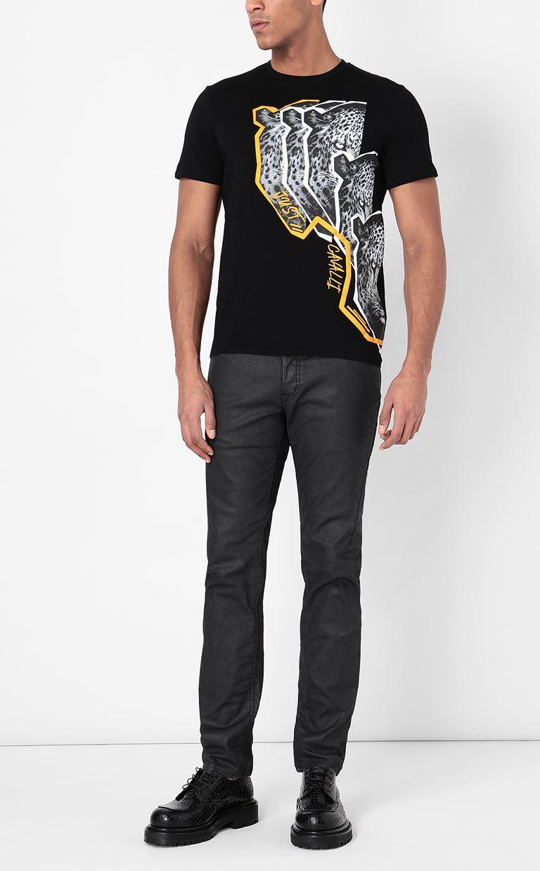 JUST CAVALLI T-shirt with Leo print Short sleeve t-shirt Man d
